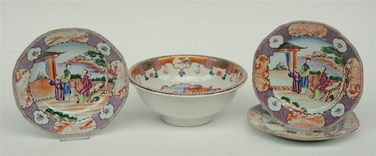 A Chinese famille rose - Mandarin bowl and three ditto dishes, decorated wi