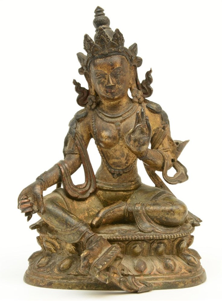 A small Chinese bronze Buddha with traces of gilt paint, Ming, H 12 cm