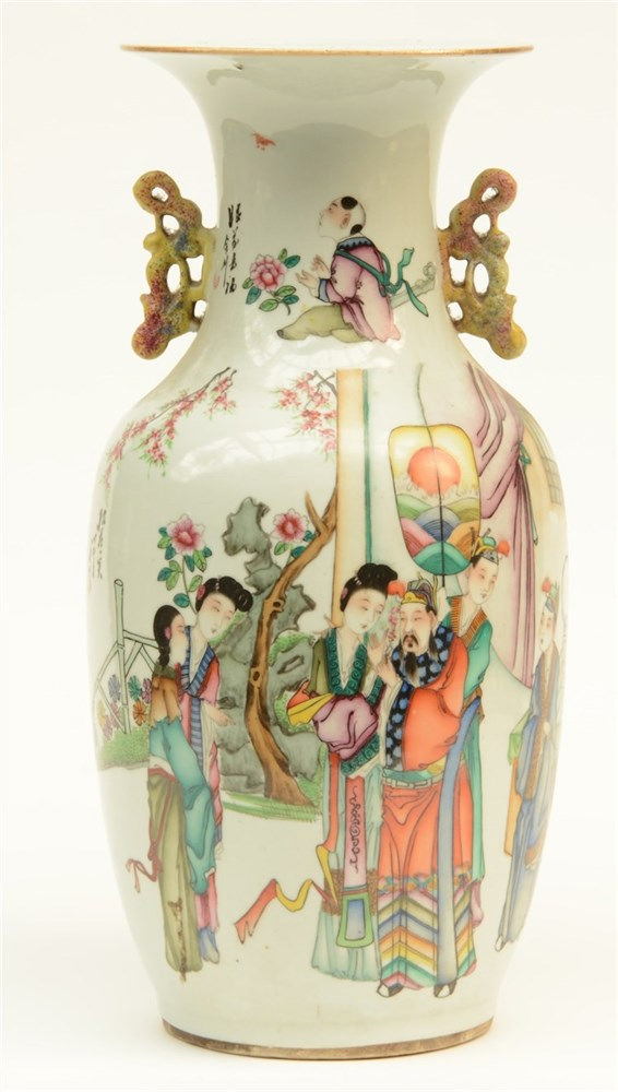 A Chinese polychrome vase, decorated on both sides, 19thC, H 43 cm