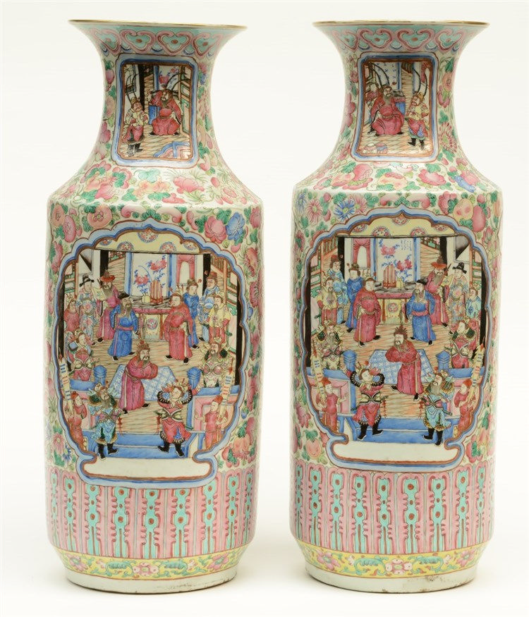 A fine pair of Chinese famille rose vases, decorated with a court- and a wa