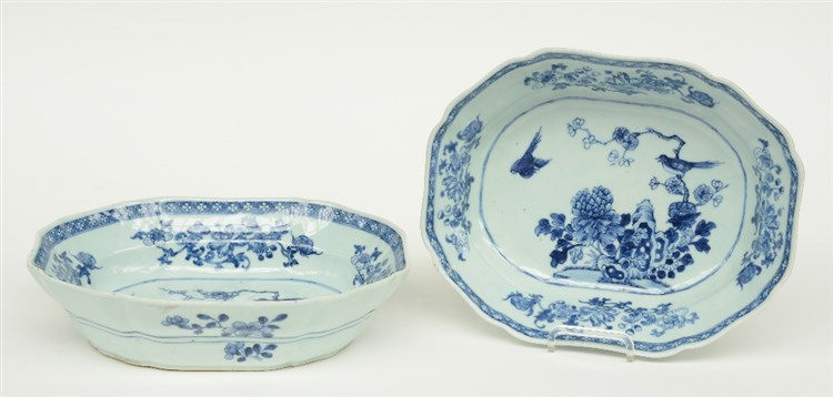 Two Chinese blue and white vegetable dishes, decorated with birds and flowe