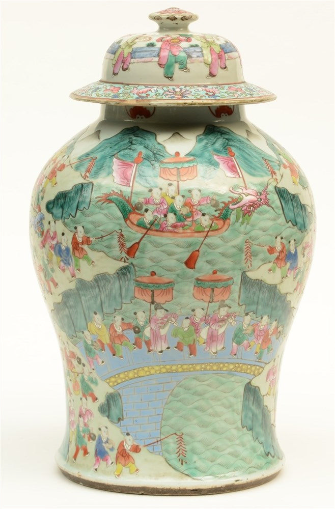 A Chinese famille rose vase with cover, decorated with animated scenes, 19t