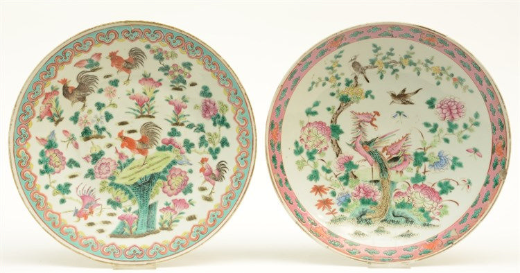 Two Chinese famille rose dishes, decorated with birds and flowers, 19thC, D