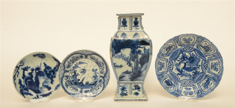 A blue and white quadrangular vase decorated with mountanious river landsca