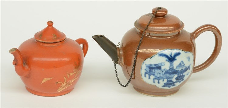 Two Chinese teapots and covers, one teapot café au lait ground, the roundel