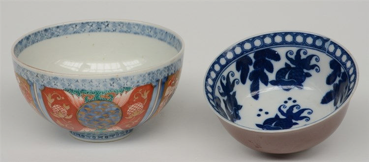 A Chinese Imari bowl, marked, 19thC; added a Chinese café au lait-ground bo