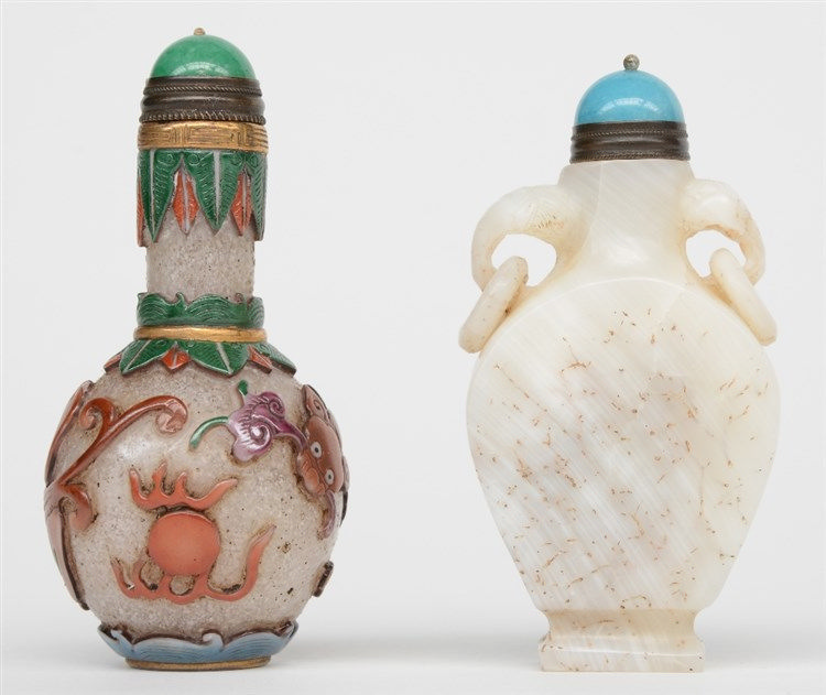 Two Chinese snuff bottles, polychrome relief moulded glas and semi-precious