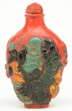 A Chinese snuff bottle, overall relief moulded with Budai, marked, H 11,5 c