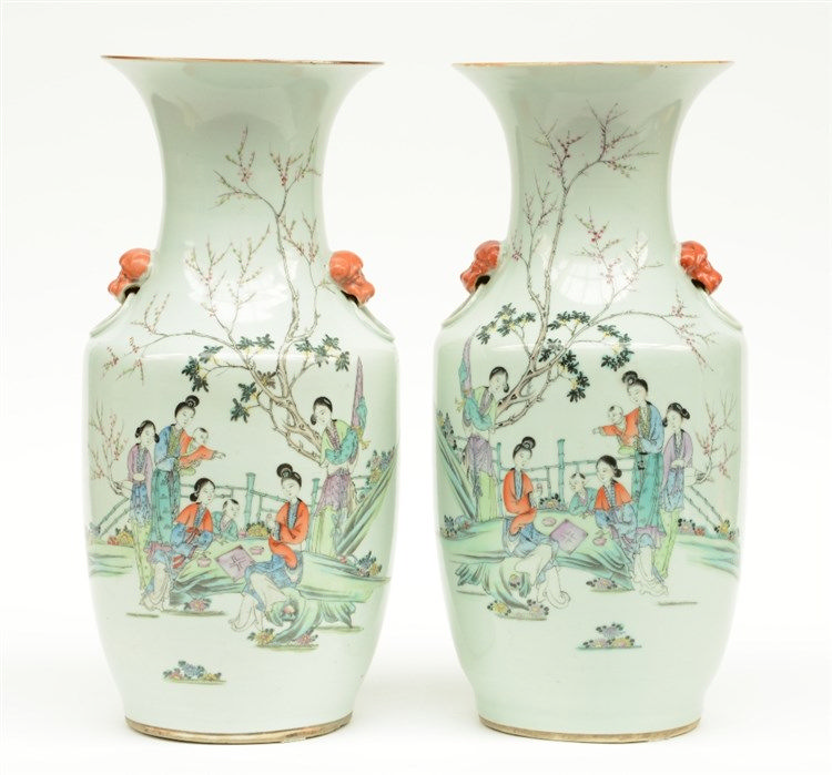 A pair of Chinese polychroom vases, decorated with court ladies and childre