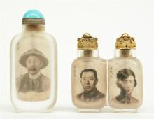 Two Chinese inside-painted glass snuff bottles, one painted with the portra
