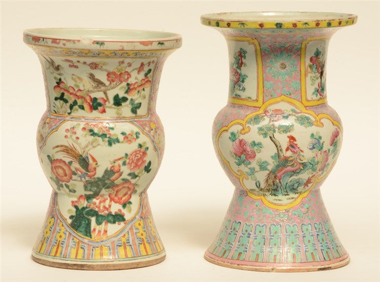 Two Chinese famille rose and polychrome beaker-shaped vases, decorated with