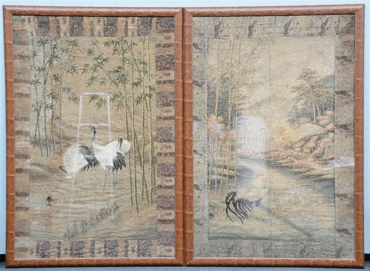 Two Japanese embroidered tapestries, one depicting cranes in a river landsc