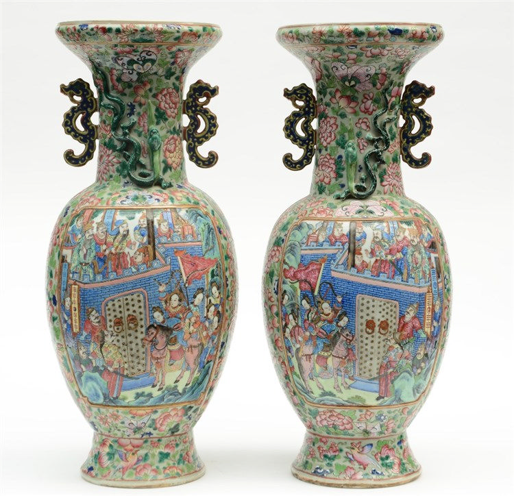 A fine pair of Chinese famille rose baluster-shaped vases, relief moulded,