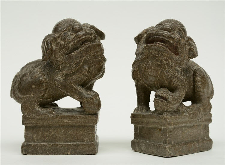 A pair of Chinese stone Fu lions, H 19 cm