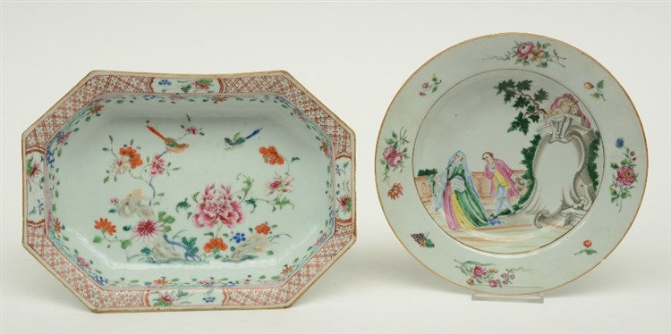 A Chinese famille rose condiment bowl, decorated with birds and flower bran