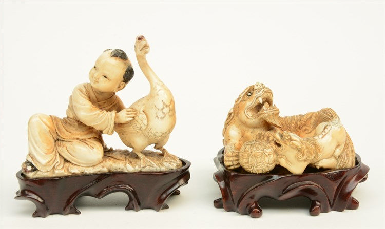 Two Chinese mammut ivory sculptures, polychrome and gilt decorated, one dep