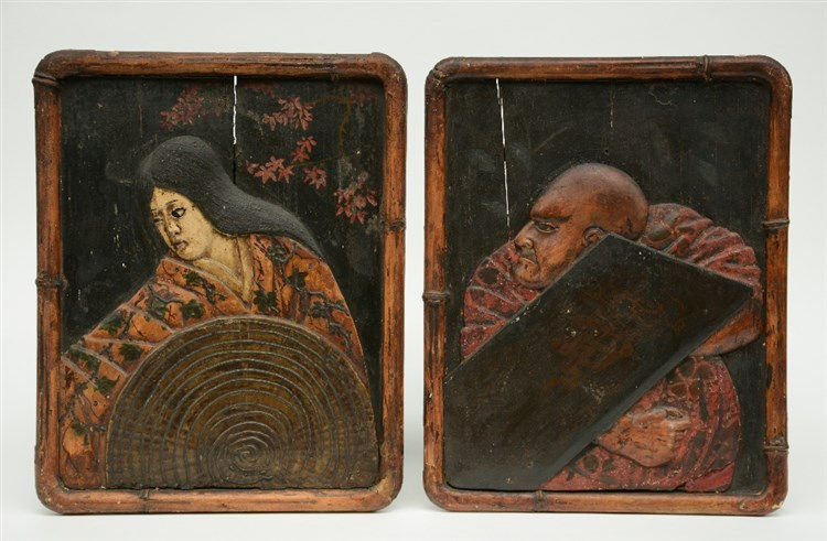 A pair of Japanese wooden dry lacquer double portraits, polychrome and reli