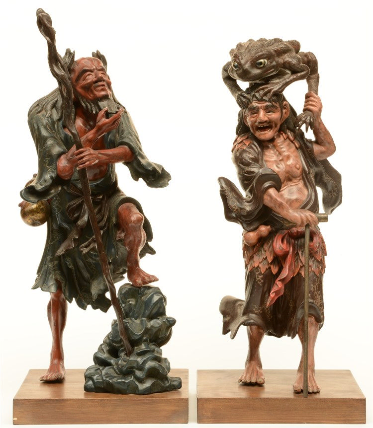 Two Japanese wooden dry lacquer sculptures, polychrome decorated, depicting