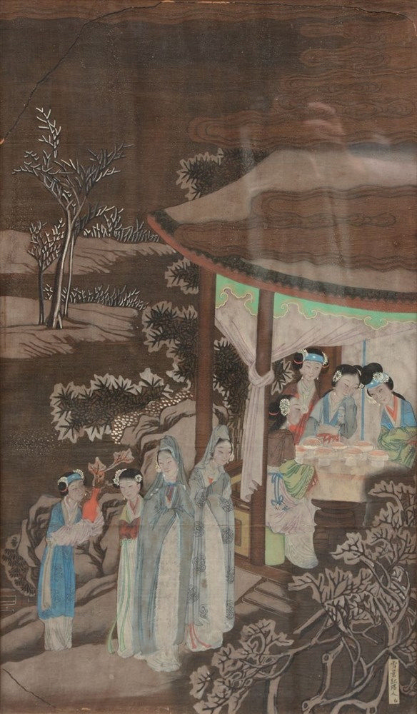 A Chinese watercolor on textile, depicting an animated scene, signed, 18th-