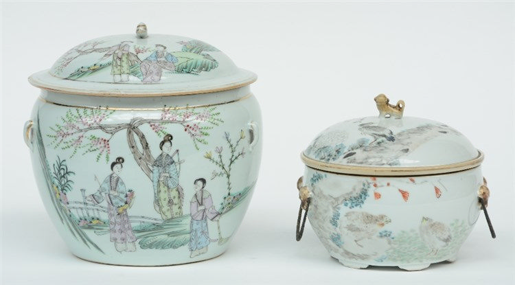 A Chinese polychrome bowl and cover, decorated with birds and flowerbranche