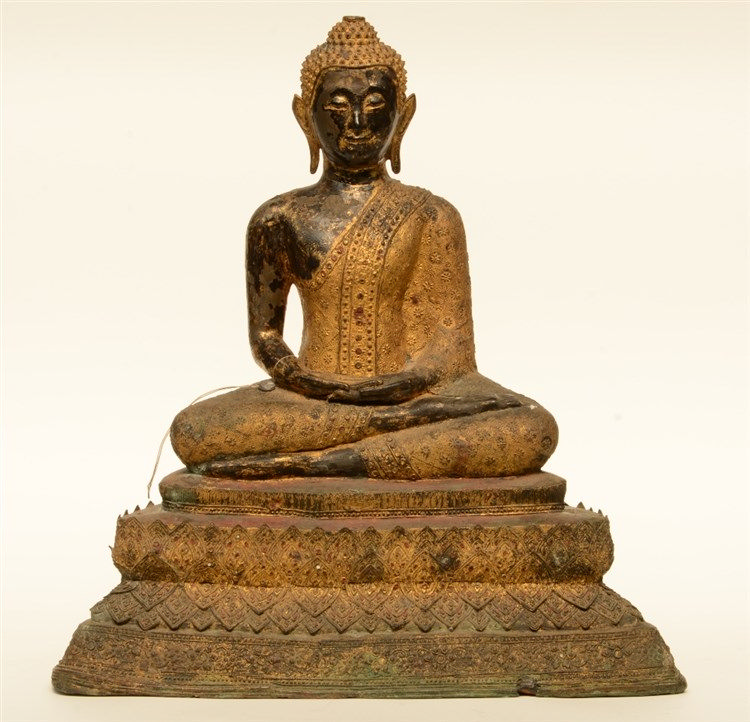 An Oriental gilt and polychrome decorated bronze Buddha, H 54 - W 51 cm (da