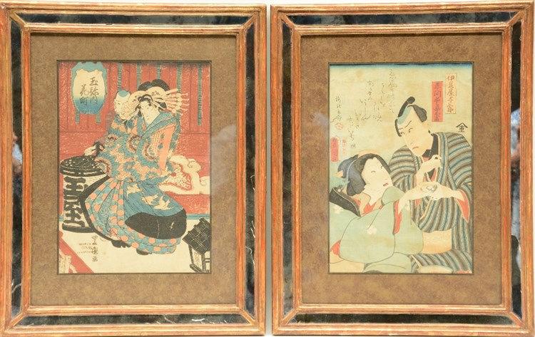 Two 19thC Japanese Ukiyo-e, Meiji period, 24 x 35,5 - 25 x 34,5 cm