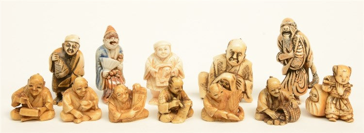 A lot of twelve various katabori netsuke, bone, mammoth-ivory, whale bone a