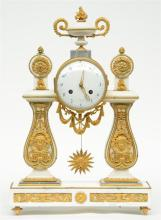 A rare Neoclassical mantel clock, white marble with delicate bronze ormolu