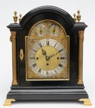 A Neoclassical Westminster tabel clock, ebonised wood and gilt bronze mount