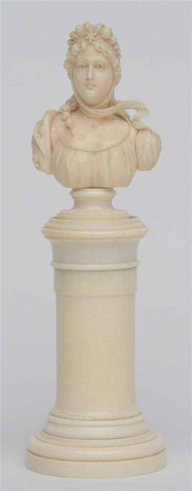 An exceptional finely carved ivory ladies bust on a Neoclassical base, Diep