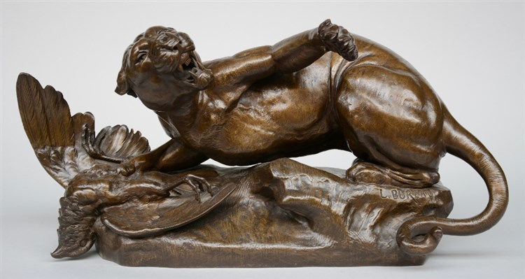 Bureau L., lioness and her kill, bronze, 19thC, H 31 - W 63,5 cm