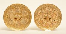 A rare pair of Moghul alabaster plaques, decorated with various portraits,