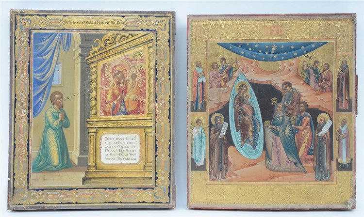 Two 19thC Eastern European icons, 'The Adoration of the Sheperds' - ' The U