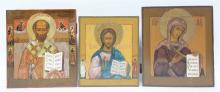 Three 19thC Eastern European icons, St. Nikolaï - Christ Pantocrator - Mado