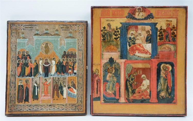 Two 19thC Eastern European icons, the Tale of Joachim and Anna - the Shelte
