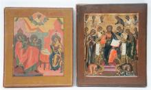 Two 19thC Eastern European icons, Deësis - Annunciation, 31 x 27 - 32 x 27