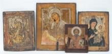 Four various Eastern European icons, 19thC and 20thC, The Holy Mother and C