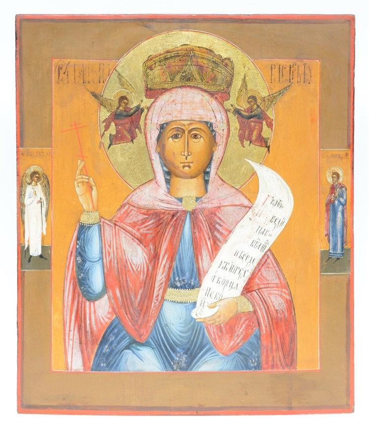 A 19thC Eastern European icon, Paraskevi - patronness of women, 45,5 x 53 c