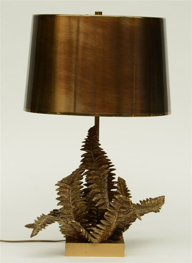 A fine brass and bronze table lamp, the body decorated with fern leaves, H