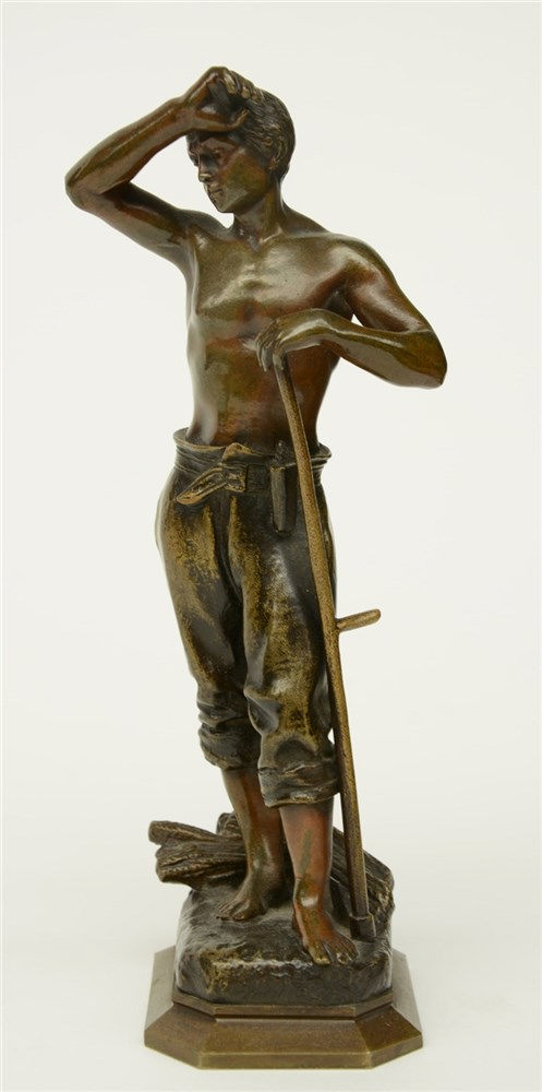 Causse J., patinated bronze sculpture depicting a mower, H 20 cm