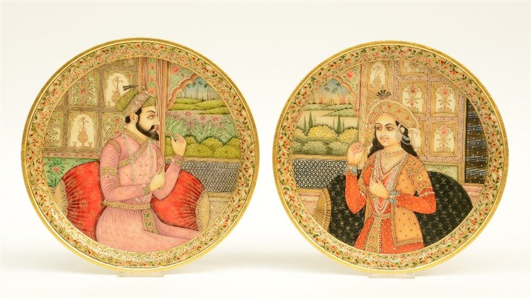 A pair of Moghul alabaster plaques, decorated with portraits, Diameter 30 -