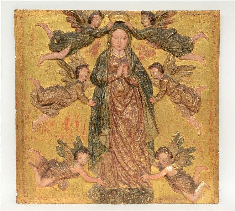A 17thC oak basso relievo sculpted and polychrome painted panel depicting t