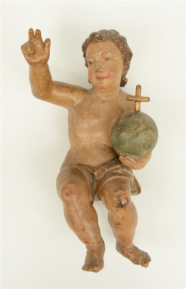 A late 17th - early 18thC Low Countries polychrome painted limewood sculptu