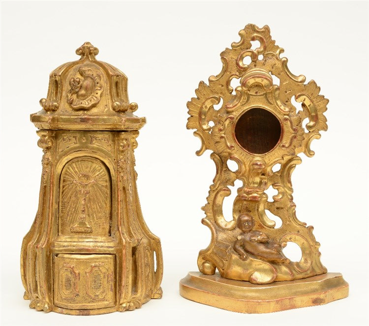 A gilt limewood mini tabernacle, Low Countries, mid-18thC; added a ditto Ro