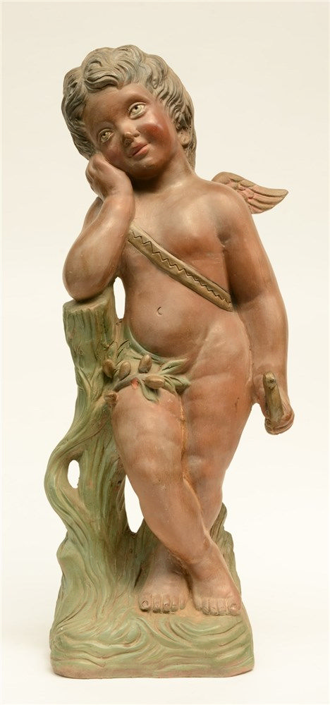 Vigo, a musing angel, polychrome painted terracotta, H 80,5cm