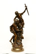 Moreau Mathurin, 'Les armes d'Achilles', patinated bronze, 19thC, H 130 cm;