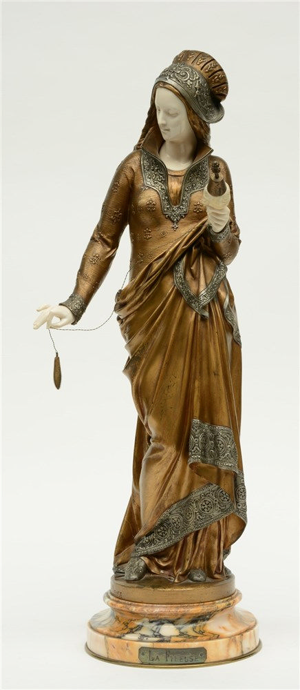 Carrier - Belleuse A., 'La Fileuse', chryselephantine statue, multiple pati