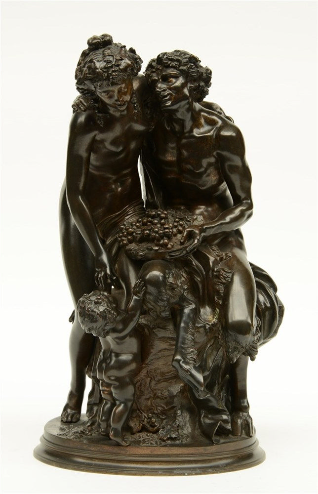 Clodion, Venus embracing Bacchus while accompanied by a putto, patinated br