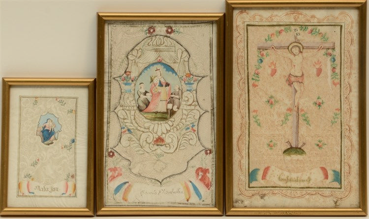 Three rare 18thC hand wrought paper lace devotional prints depicting: 'Cons