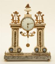 A French late 19thC mantle clock, Carrara and gris des ardennes marble with